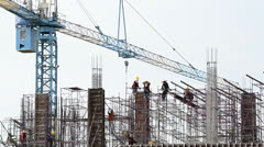 People working in construction site Stock Footage