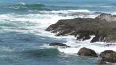 Coastal surf against rugged rock coast California HD 5987 Stock Footage