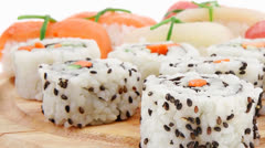 Maki Roll with Deep Fried Vegetables inside and Nigiri sushi Stock Footage