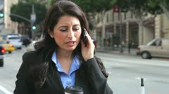 Businesswoman Outside Office On Mobile Phone Stock Footage