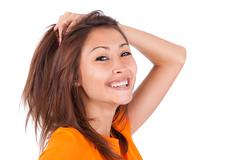 portrait of a young beautiful asian woman - asian people - stock photo