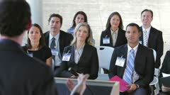Businesspeople Listening To Speaker At Conference - stock footage