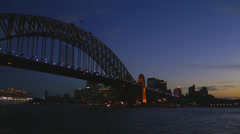 Time-lapse video of Sydney Harbor Bridge in evening Stock Footage