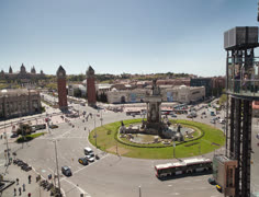 Barcelona roundabout traffic Stock Footage