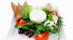 Salad and low fat cheese Stock Footage