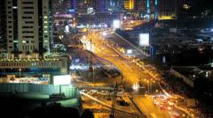 Time lapse illuminated night view of road system under construction  Middle East Stock Footage