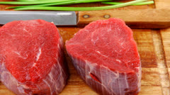 Fresh fillet chops : raw beef fillet on wood Stock Footage