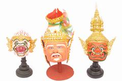 thai actor's mask ramayana - headed. - stock photo