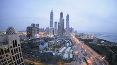 Elevated time lapse night view Media and Internet city, Dubai, UAE Stock Footage