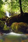 Waterfall at Phu Kra Dung national park. Stock Photos