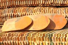 view of a stack of pattern of the roof tiles. - stock photo