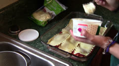 Assembling Lasagna - stock footage
