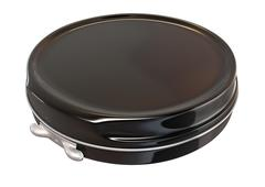 Black round metal tin closed Stock Illustration