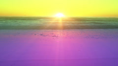 Green and purple sunset over the ocean Stock Footage