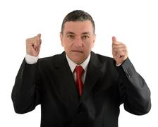 aged businessman making various gestures isolated on white background - stock photo