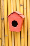 vintage wood little of birdhouse by handycrafts. - stock photo