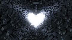 Stock Video Footage of Heart-shaped tunnel with light in the end