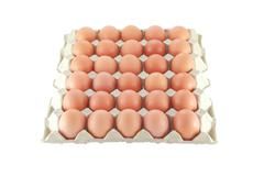 thirty eggs in cover paper. - stock photo