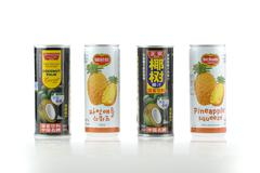 Chinese vs English face of juice's cans Stock Photos