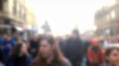 Crowd of people walking blurred Stock Footage