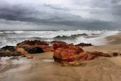 painting of stormy beachfront - stock illustration
