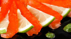 Salmon slices and tomatoes Stock Footage
