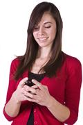 beautiful girl texting - stock photo