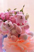 twin teddy bear in love - stock photo