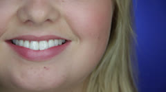 White Caucasian Lady smiles with bright teeth - stock footage