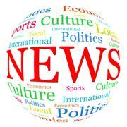News related words arrangement in spherical form Stock Illustration