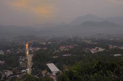 Twilight viewpoint at Luang Prabang, Laos. Stock Photos