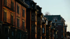 Boston Brownstones at Sunset Stock Footage