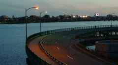 Highway by River Boston Stock Footage
