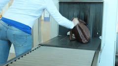 X-Ray Inspection System. Luggage at the airport Stock Footage