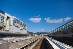 kyoto station is the city's transportation hub in kyoto. - stock photo