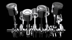 View of the pistons moving from one side, loopable with alpha Stock Footage