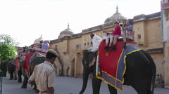 A cavalcade of Elephants in the Amber Fort 06.mp4 Stock Footage