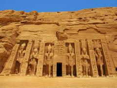 abu simbel, egypt: the magnificent temple of godess hathor - stock photo