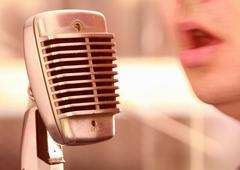 Vocal with retro mike - stock photo
