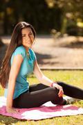 young beautiful sport woman enjoying before sport - stock photo