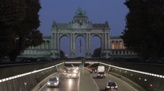 Brussels Cinquantenaire Park Tunnel Stock Footage