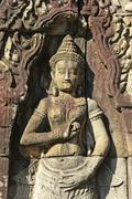 Bas-relief of devata, banteay kdei temple Stock Photos