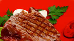 Meat savory : beef grilled on red Stock Footage