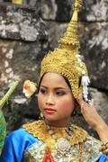 Apsara dancer performing at bayon temple Stock Photos