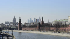 Moscow International Business Center and Kremlin Stock Footage