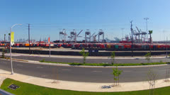 Port Of Los Angeles Harbor Cranes Shipping Containers On Trailers Stock Footage