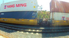 Chinese Company Shipping Containers On Railroad Car Stock Footage