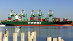 Container Ship In Port With Cranes Unloading Shipping Containers Stock Footage