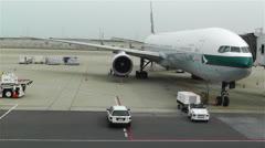 Kansai Airport Osaka Japan 18 cathay pacific Stock Footage