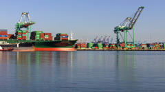 Freighter Heading Out Of Port Of Los Angeles Time Lapse Stock Footage